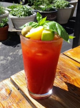 The Refectory Cafe : Basil Bloody Mary - Perfect for Brunch on the patio!