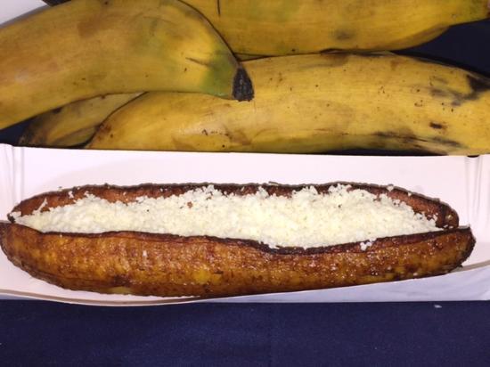 La Arepa: Plantain with white cotija cheese (Platano frito)