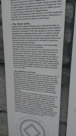 Belfry and Cloth Hall (Belfort en Lakenhalle): Gent - Belfry description by the entrance