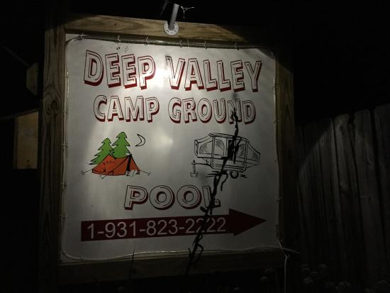 Deep Valley Campground: Entrance sign at night