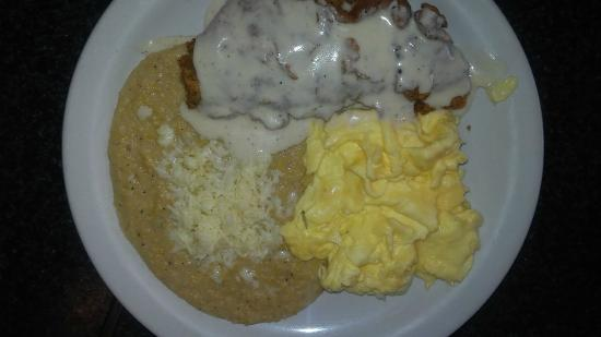 Crossroads Diner: Chicken Fried Steak w/eggs, grits and pancakes
