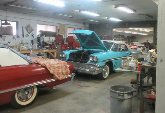 Nixdorf Classic Cars: Cars in Shop Area, Nixdorf Classic Car Museum, Summerland, British Columbia, Canad