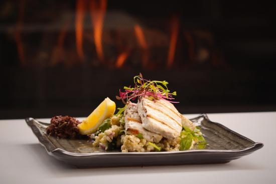 6ed2f1382b863 The George Tavern  Char grilled lemon Swordfish with puffed Israeli  couscous of fetta