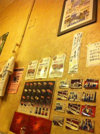 Arigato: Not all of the sushi on the wall are available
