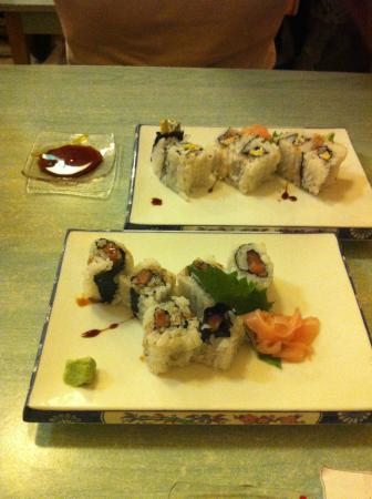 Arigato: Sushi with salmon and sushi with avocado. Rolled inside out and created nice texture