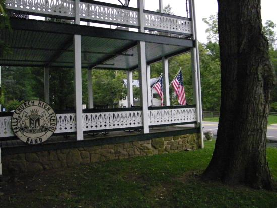 Orkney Springs, VA: Side view of the front porch of the hotel.
