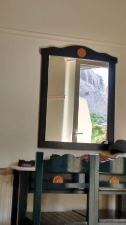 Hotel Phaedra: Acropolis reflected in the mirror in hotel room