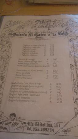 Parte Del Menù Foto Di Osteria Il Gatto E La Volpe Firenze