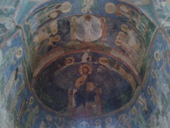 Pskov Oblast, Rusia: фрески Мирожского монастыря, Псков
