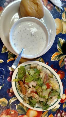 LA Galette: cold yogurt cucumber soup and fattoush salad