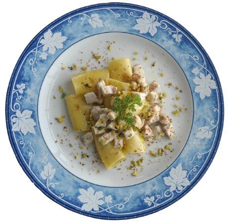 Hotel San Michele: Tubettoni con dadolata di pesce spada al pesto di pistacchi