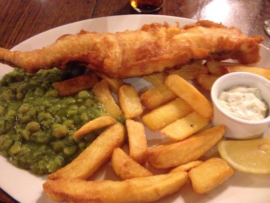 Hand and Trumpet: Fish and chips... Yum
