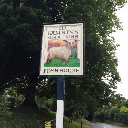 The Lamb Inn: Pub sign restored, original artist Keith Petit