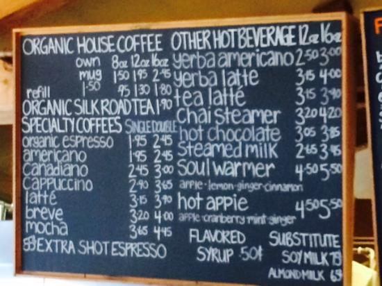 Barb's Bakery & Bistro : chalk board menu - coffees, teas, etc