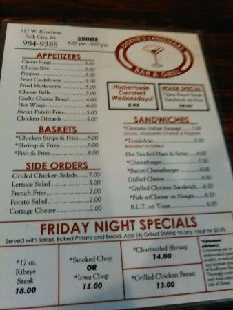 Dottie's menu, Polk City