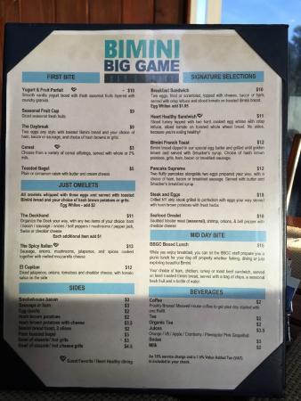 Big Game Club Bar & Grill: Menu