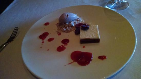 Dessert - cherry chocolate ice cream & tart