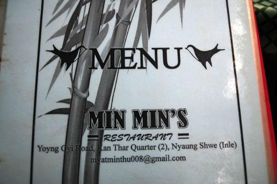 Min Min's : メニューのアップ