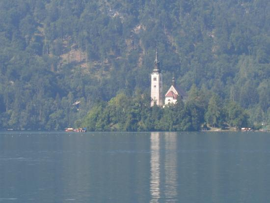 Penzion Mayer: The island church on lake Bled, destination of thr Pletna boats