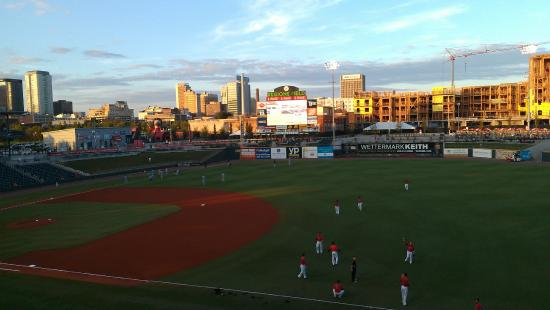 Regions Field: Sunset on the outfield.