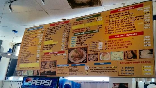 "Oxon Hill, MD: ""Menu"" above the cash register. Prices have changed......often."
