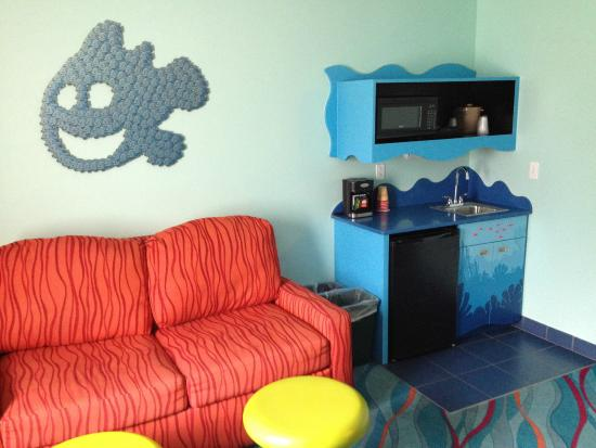 Disneys Art Of Animation Resort Living Room And Kitchenette Finding Nemo Suite