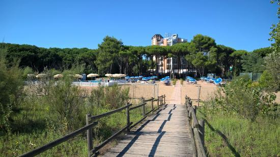 Hotel Beau Rivage Pineta: vista hotel e zona piscina dall'acceso al mare privato