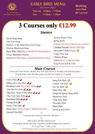 Nanjing Listowel Chinese Restaurant : early bird menu