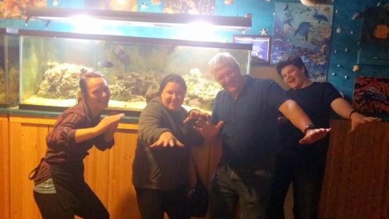 "Sarah our waitress with the Australian Family at the "" Great Barriere Reef""!"