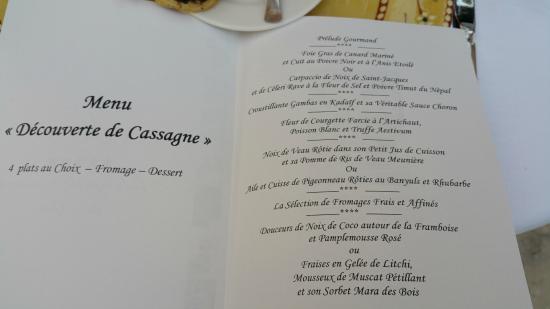 Auberge De Cassagne Menu Decouverte