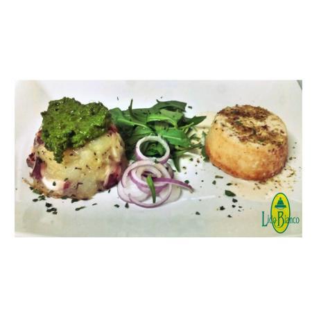 Lidobianco: Flan di crostacei e polposa (polpo e patate) con crema di basilico e rucola