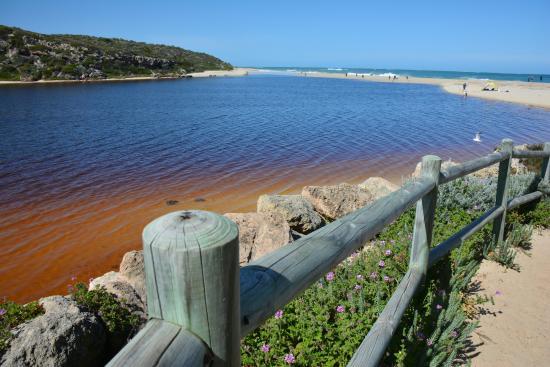 Guilderton Caravan Park: Moore River mouth with sandbar and beyond it the sea