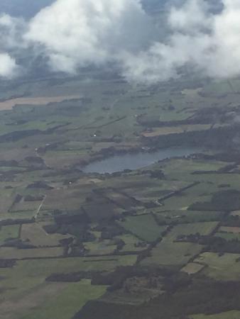 Bredsten, Danmark: Engelsholm Sø og Slot set fra en flyver