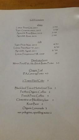Philomath, OR: drink menu