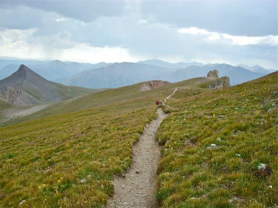 Wetterhorn and Uncompahgre Peaks: The trail above treeline.