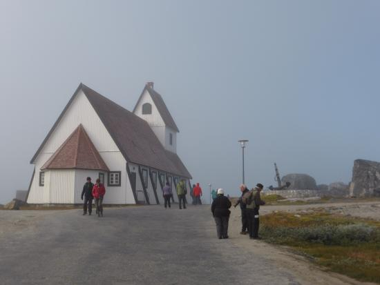 Nanortalik church in morning mist
