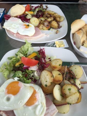 The Courtyard Restaurant Cafe: ,ham egg chips, the ham was to die for, recently taken over by new owners, the food and service