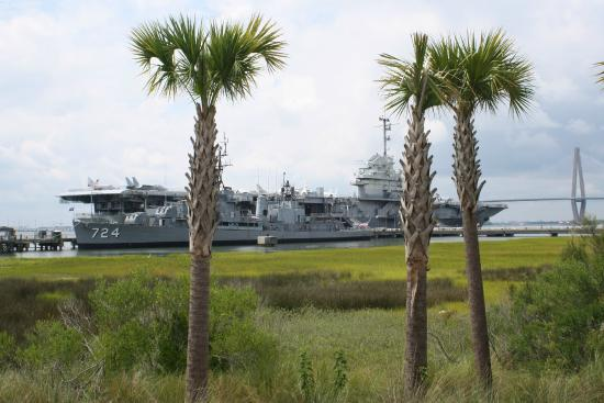 View of patriots point from the fist house restaurant for Charleston harbor fish house