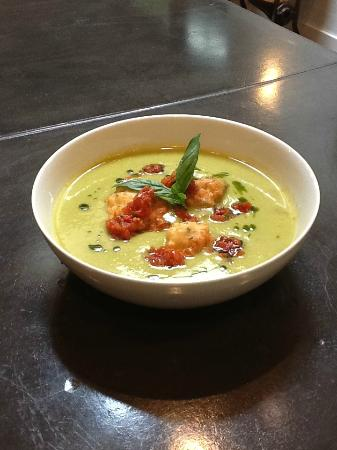 Tot Restaurant: Zucchini Soup with Coconut Fritters