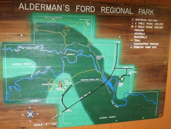 Map Of The Hiking Trails At Aldermans Ford Park Hidden By The