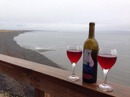 The Alaska Beach House: Enjoy a bottle of local Bear Creek Wine on the deck!