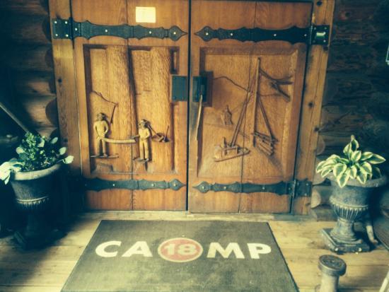 Front Entry Doors With Axe Door Handles Picture Of Camp 18 Gift