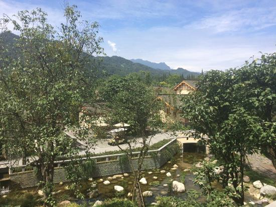 Landscape - Six Senses Qing Cheng Mountain: View from the Welcome pavilion on a sunny day