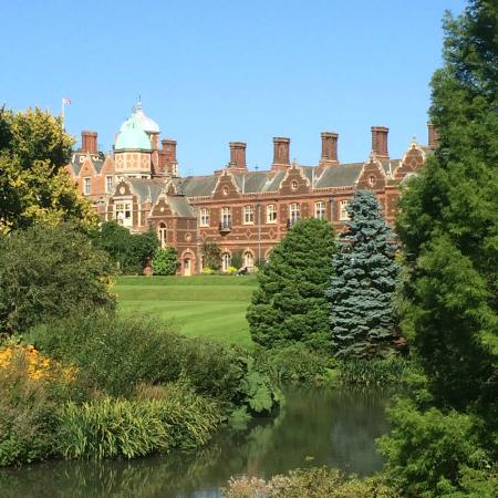 Sandringham House: View of the house from the stream walk