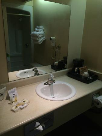 Days Inn Toronto East Beaches: Bathroom with small bottle amenities & shower/bath combo