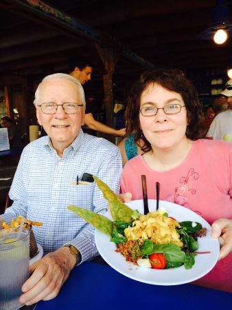 My Dad and my sister - dinner at the creek