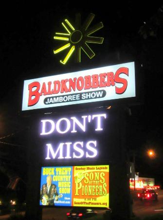 Baldknobbers Jamboree: Sign out front.