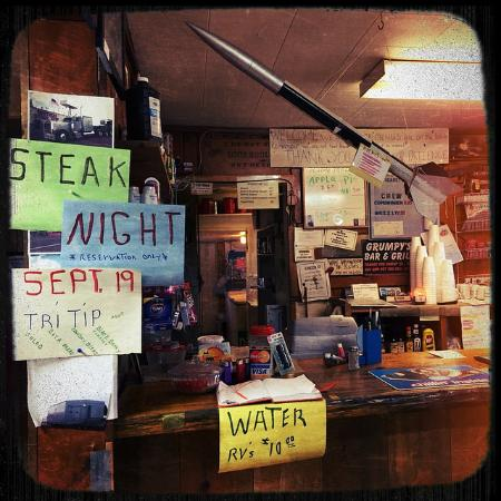 Brothers Stage Stop: The cafe rocket! Hand written signs!
