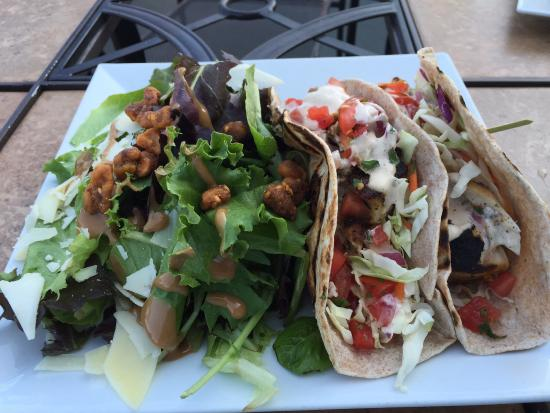 Branford, CT: Mahi Mahi Tacos, sliced beet salad
