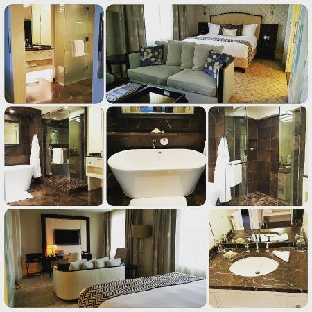 Rosewood Hotel Georgia: a collage of the deluxe king room